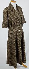 Vintage Batik Rayon Button Up Short Sleeve Dress! Size L