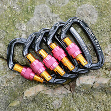5pcs 24KN Rock Tree Climbing Screw Locking Carabiner Rappelling Equipment Gear