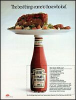1988 Heinz tomato ketchup meatloaf on plate recipe vintage photo Print Ad ads29