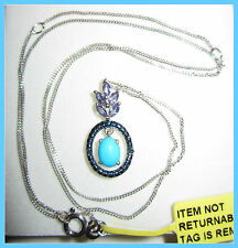 Sleeping Beauty Turquoise /Catalina Iolite /Diamond Necklace Sterling SIlver 925