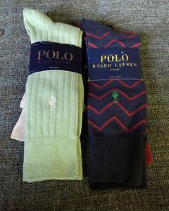 Nwt Polo Ralph Lauren Dressy Socks 4 Total Pairs Green Tan Blue Stripes D16
