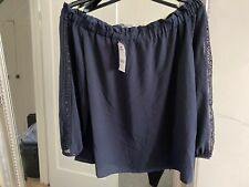 NEXT Navy Bardot Cold Shoulder Top Size 18 Women's Plus Size New With Tags