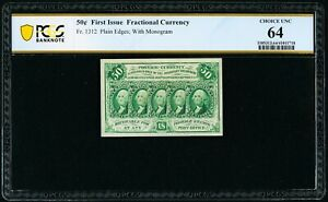 1862-63  50 CENT FRACTIONAL CURRENCY, FR-1312, CERTIFIED PCGS CHOICE NEW 64