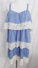 H & M Dress Peasant Tiered Sundress Chambray Blue White Lace size 6