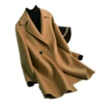 Occident 100% Cashmere Wool Womens Lapel Collar Soft Loose Long Coats Parka