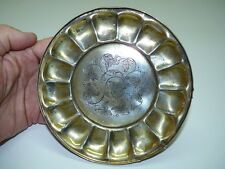Antique Polish Fraget Art Nouveau Silver-Plated Scalloped Tray /w Foot, D 15.5cm