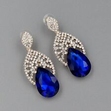Chandelier Drop Dangle Earrings 863 Gold Plated Sapphire Blue Crystal Rhinestone