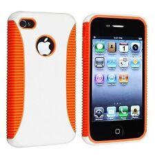 Hybrid Ribbed Case for iPhone 4 / 4S - Orange/White