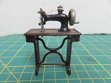 VTG Germany Heavy Cast Iron Metal Sewing Machine w/Tread Table Brown Miniature