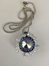 Handcrafted Beaded Bezel Swarovski Crystal Flower Pendant