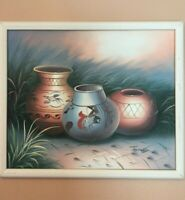 Native American A Vintage Original Oil Painting O/C Pottery Still-Life Signed