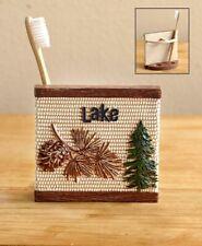 Northwoods Lodge Cabin Evergreen Tooth Brush Holder Fishing Lake House Bath