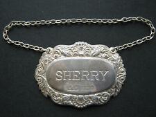 Birmingham sterling silver Sherry decanter label 1982