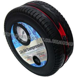 12v Car Mini Wheel Tyre Shape Air Compressor Quick Connect Inflator Pump SWAC13