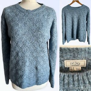 Fat Face Jumper Sweater UK 12  Blue Cable Knit Women's Simple Folk Casual