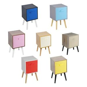 Wooden Cube Storage Bookcase Scandinavian Style Legs Bedroom Colourful Inserts