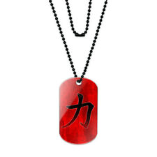 Chinese Symbol for Strength Acrylic Dog Tag with Black Ball Chain