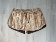 Oro Cintura Alta Pantalones Cortos Corto Estilo Deportivo Bronce Mancha Reino Unido XL Verano Festival