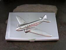 Handmade Silver Brass Steampunk Airplane Aviation Business Card Holder