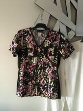 CHEROKEE Lime Green Pink Black Short Sleeve Stretch Tunic Top 2 Pockets S 8 10