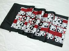 2-Ply Men 100% Silk Oblong Scarf Black White Burgundy