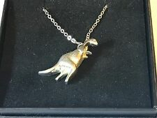"""Diplodocus Tg239 Pewter On 18"""" Silver Plated Curb Necklace"""