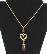 "AVON VINTAGE*TEXTURED HEART PENDANT*29 3/4"" LONG/PENDANT 3 1/2"" LONG*NEW*1994"