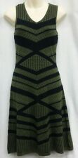 MOSSIMO S Sweater Dress Olive Green Black Stripe Sleeveless V Neck Lined Knit