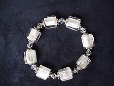 Vintage Fashion Jewelry Clear Glass Bead Silver Tone Endless Elastic Bracelet