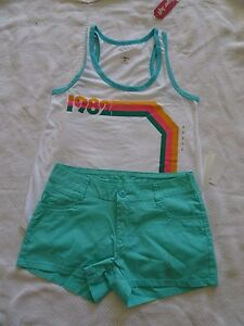 "NWT SIZE 5 S SMALL ARIZONA SHORTS SHORTIE POPLIN CHINO 2.5"" LIGHT GREEN TANK SET"
