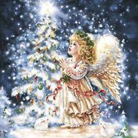 4 Servietten ~ Engel mit Reh und Vogel im Winter Wald Angel Schnee