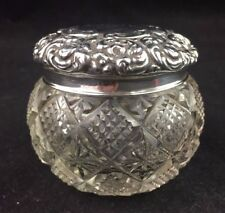 Antique Crystal Dresser Jar w/ Unger Brothers Sterling Lid PASSAIC circa 1900