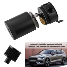 Aluminum Car 3-port Oil Catch Can Tank with Breather Filter Engine Oil Separator