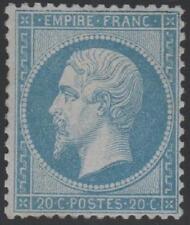 "FRANCE STAMP TIMBRE  N° 22 "" NAPOLEON III 20c BLEU 1862 "" NEUF xx TTB"