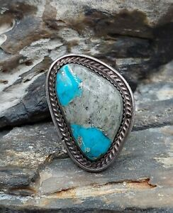 Southwestern Sterling Silver Boulder Turquoise Ring Navajo Native Old Pawn...
