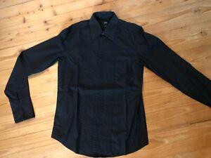 Hugo Boss Smoking Hemd Shirt S 38 Herren Schwarz Gala Manschetten
