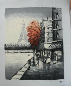 Hand Painted Landscape Oil Painting Paris Street Scene Eiffel Tower Wall Art B20