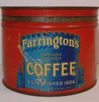 Rare Vintage 1930s FARRINGTON COFFEE KEYWIND COFFEE TIN 1 POUND CASTLE GRAPHIC