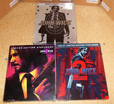 JOHN WICK 1-2-3 Limited Edition Steelbook BUNDLE (Blu-Ray+DVD) NEW and SEALED