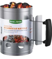 """BEAU JARDIN Charcoal Chimney Starter 11""""X7"""" Grill Barbecue BBQ Kettle"""