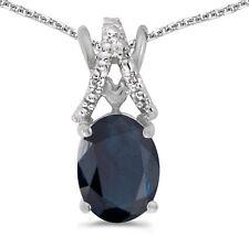 14k White Gold Oval Sapphire and Diamond Pendant (no chain) (CM-P2620XW-09)