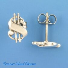 Dollar Sign Symbol Money .925 Solid Sterling Silver Stud Post Earrings USA MADE