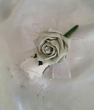 Silver White Wedding Buttonhole/Corsage  White Ribbon Silver Ball Sprays