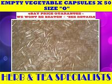 "EMPTY VEGETABLE CAPSULES X 50 ☆ SIZE ""O"" ☆ CLEAR - SELF FILL -VEGGI $$ QUALITY"