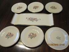 Service à gâteaux Rouard en Porcelaine - 6 assiettes 1 plateau peints à la main