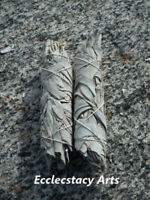 "2 White Sage Smudge Sticks-Herb Wand-House Negativity Removal 4- 5"" USA"
