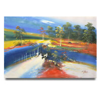 NY Art - Colorful Abstract Landscape 24x36 Original Oil Painting on Canvas!