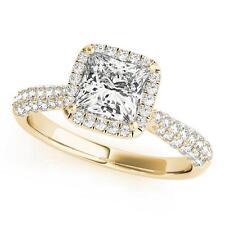 NEW LADIES 14k YELLOW GOLD DIAMOND SEMI-MOUNT HALO PRINCESS CUT ENGAGEMENT RING