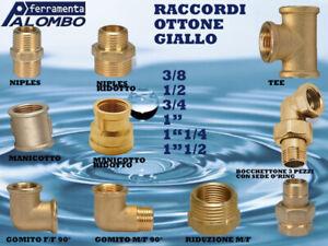 """RACCORDI IN OTTONE GIALLO 3/8 -1/2 - 3/4 - 1"""" - 1""""1/4 - 1""""1/2"""