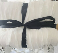 Hamptons White Ruffle Shabby Ruffled Ribbon Couch Bed Throw Blanket Country Chic
